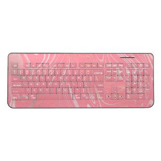 Elegant stylish girly rose gold marble look pink wireless keyboard