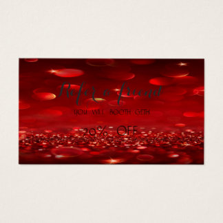 Elegant Stylish  Red Bokeh  Referral Card