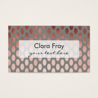 elegant stylish rose gold foil polka dots pattern business card