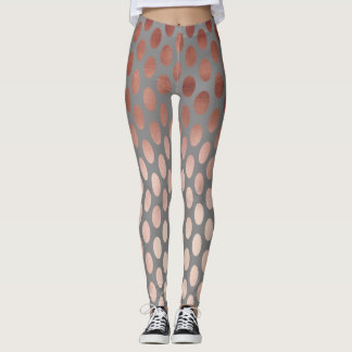elegant stylish rose gold foil polka dots pattern leggings