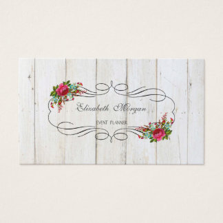 Elegant Stylish Rustic Chic,Flowers,Wood Texture Business Card