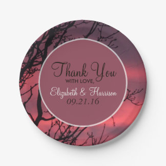 Elegant Sunset Forest Wedding Paper Plate