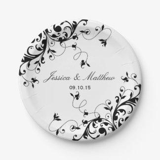 Elegant Swirls Black & White Wedding 7 Inch Paper Plate