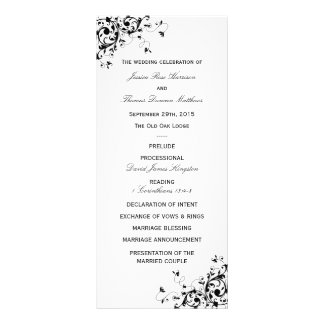 Elegant Swirls Black & White Wedding Program Customized Rack Card