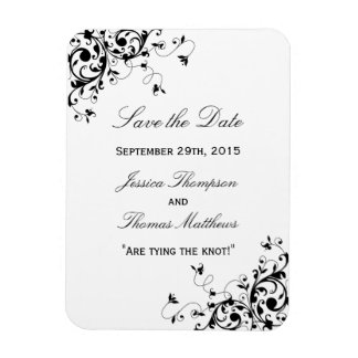 Elegant Swirls Black & White Wedding Save The Date Rectangular Photo Magnet