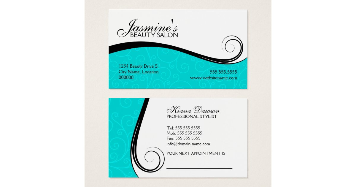Elegant swirls salon turquoise business card zazzle for Salon turquoise