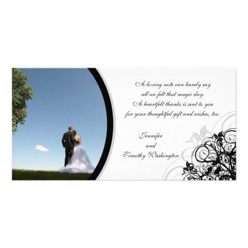 Elegant swirls wedding thank you photocard photo cards