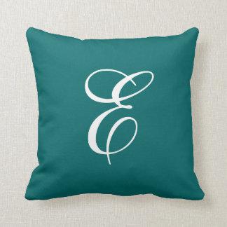 Elegant Teal and White Monogram Throw Pillow
