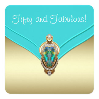 Elegant Teal Blue and Gold Birthday Party Card