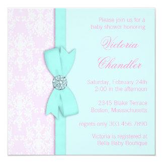 Elegant Teal Blue and Pink Baby Girl Shower Card