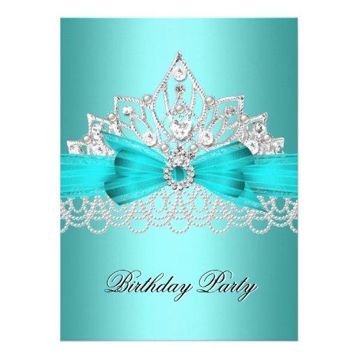 Elegant Teal Blue Diamond Tiara Jewel Pearls 3 Invites