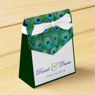 Elegant Teal Blue Peacock Wedding Favour Box