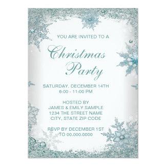 Elegant Teal Blue Snowflake Christmas Party 14 Cm X 19 Cm Invitation Card