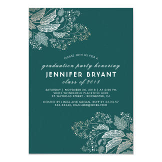 Elegant Teal Color and Gold Foliage Graduation Card