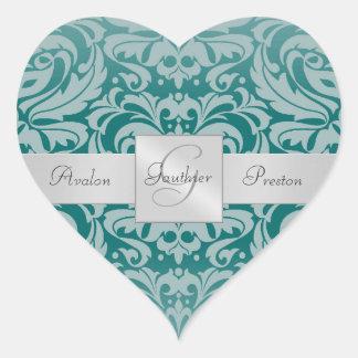 Elegant Teal Damask Monogram Heart Wedding Sticker