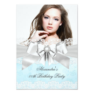 Elegant Teal Damask Silver Photo Birthday Party Personalized Announcement