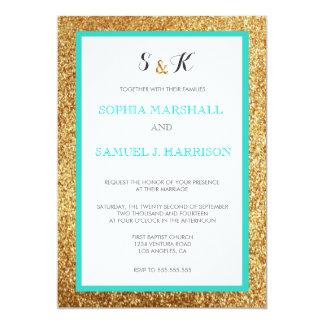 Elegant Teal Glitter Gold Wedding Invitation