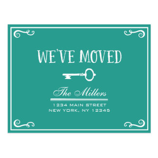 Elegant Teal Green Key Moving Announcement Postcard