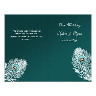 Elegant teal peacock folded Wedding program 21.5 Cm X 28 Cm Flyer
