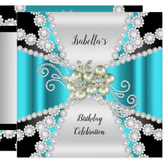 Elegant Teal Pearl Black White Diamond Birthday Card