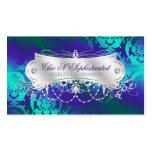 Elegant Teal Purple Damask Swirl Pack Of Standard Business Cards