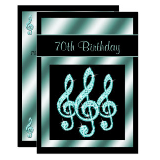 Elegant, Teal Treble Clefs 70th Birthday 13 Cm X 18 Cm Invitation Card