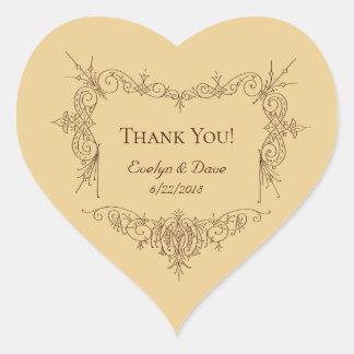Elegant thank you couples Custom texts CC0984 Heart Sticker