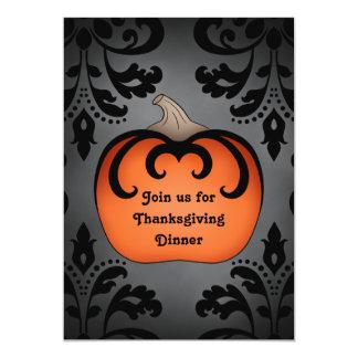 Elegant Thanksgiving pumpkin on damask Card