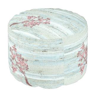 Elegant trendy  vintage wooden cherry tree pouf
