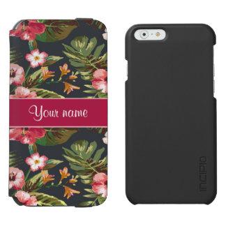Elegant Tropical Hibiscus Flowers and Leaves Incipio Watson™ iPhone 6 Wallet Case