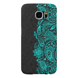 Elegant Turquoise & Black Floral Paisley Lace Samsung Galaxy S6 Cases