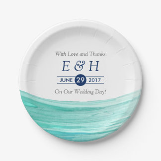 Elegant Turquoise Tides Beach Wedding 7 Inch Paper Plate