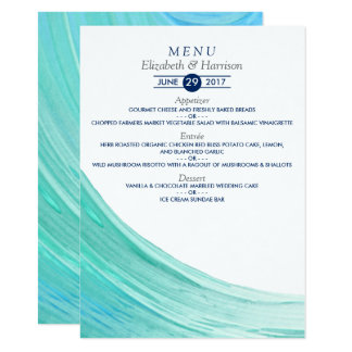 Elegant Turquoise Tides Beach Wedding Menu 11 Cm X 16 Cm Invitation Card