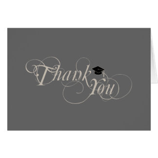Elegant Type and Cap Graduation Thank You Card