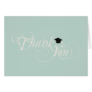 Elegant Type & Cap Graduation Thank You Card:Green Card