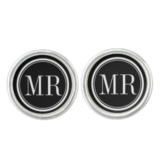 Elegant typography monogrammed cufflinks for men