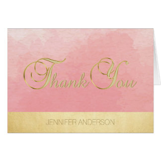 Elegant Unique Pink Watercolor Gold Foil Thank You Card