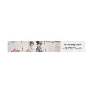 Elegant Victorian Fashion Ephemera Collage Wraparound Address Label