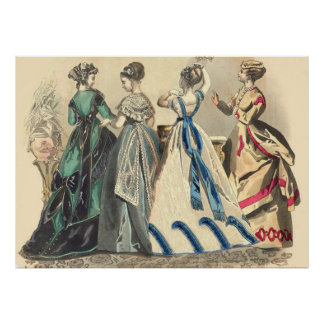 Elegant Victorian Fashions Poster