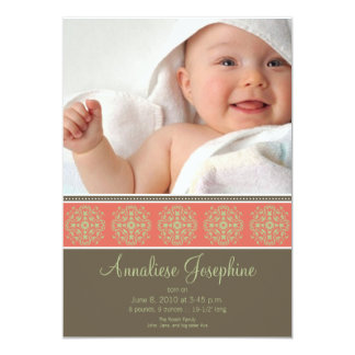 Elegant Victorian Stamp Birth Announcement: coral Card