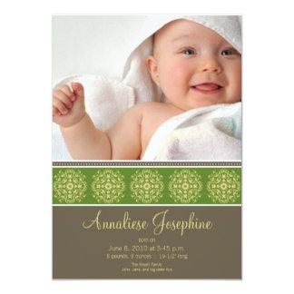 Elegant Victorian Stamp Birth Announcement: lime Card