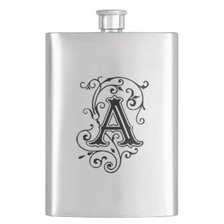 Elegant Victorian Style Letter A Monogram Hip Flask
