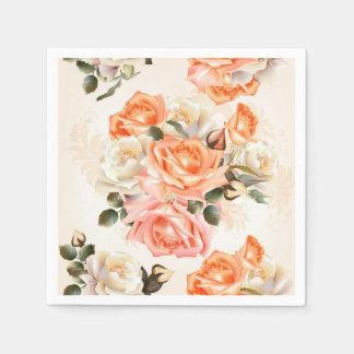 Elegant Vintage beige rose pattern Paper Napkin