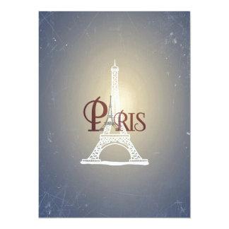 Elegant Vintage Blue Eiffel Tower Paris Design Invite