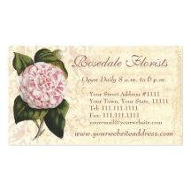 Elegant Vintage Camellia Gardener or Florist Double-Sided Standard Business Cards (Pack Of 100)