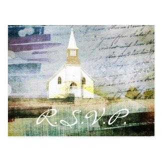 elegant vintage church chapel country RSVP Postcards