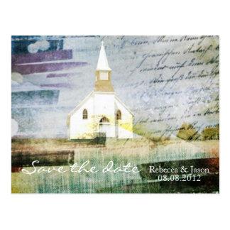 elegant vintage church chapel country savethedate postcard