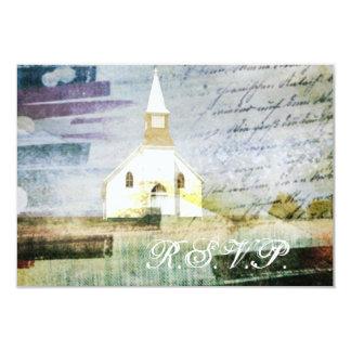 elegant vintage church chapel country wedding RSVP Custom Invite