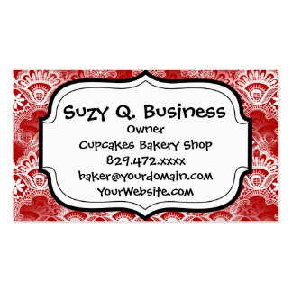 Elegant Vintage Distressed Red White Lace Damask Double-Sided Standard Business Cards (Pack Of 100)