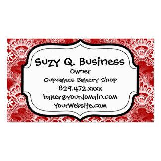 Elegant Vintage Distressed Red White Lace Damask Pack Of Standard Business Cards